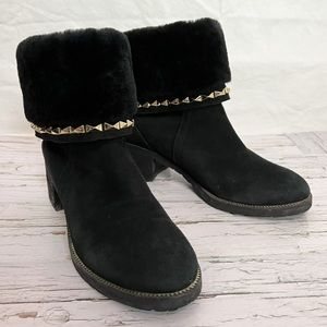 Linda Rosa / Faux Fur Studded Fold Down Ankle Boots